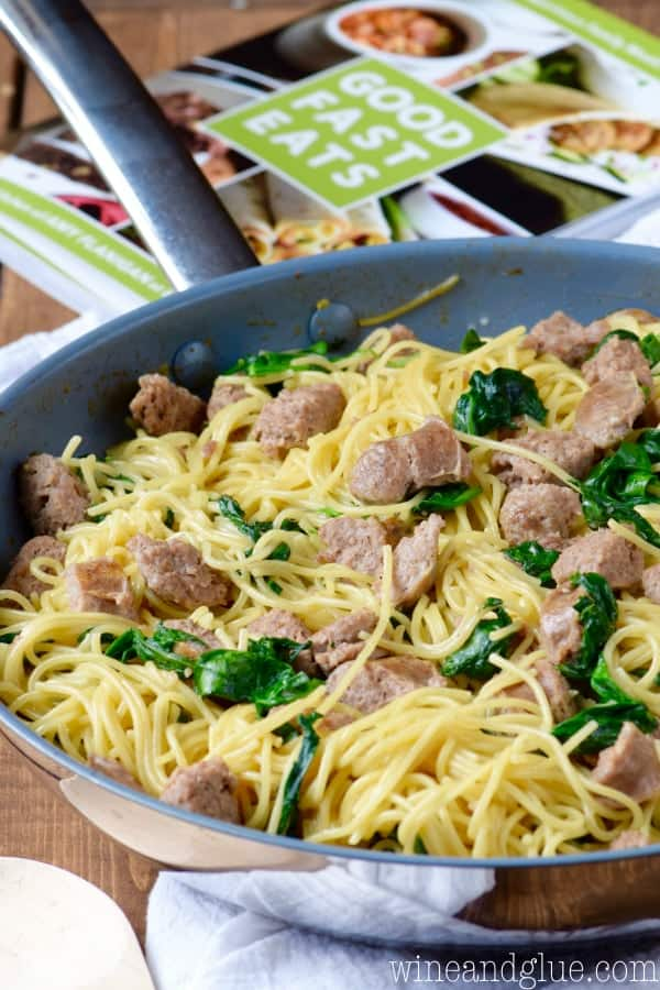 The One Pot Creamy Spaghetti and Sausage' ingredients all together in one sauce pan.