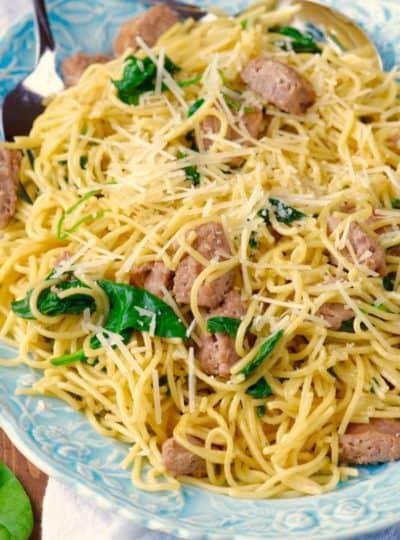 One Pot Creamy Spaghetti and Sausage