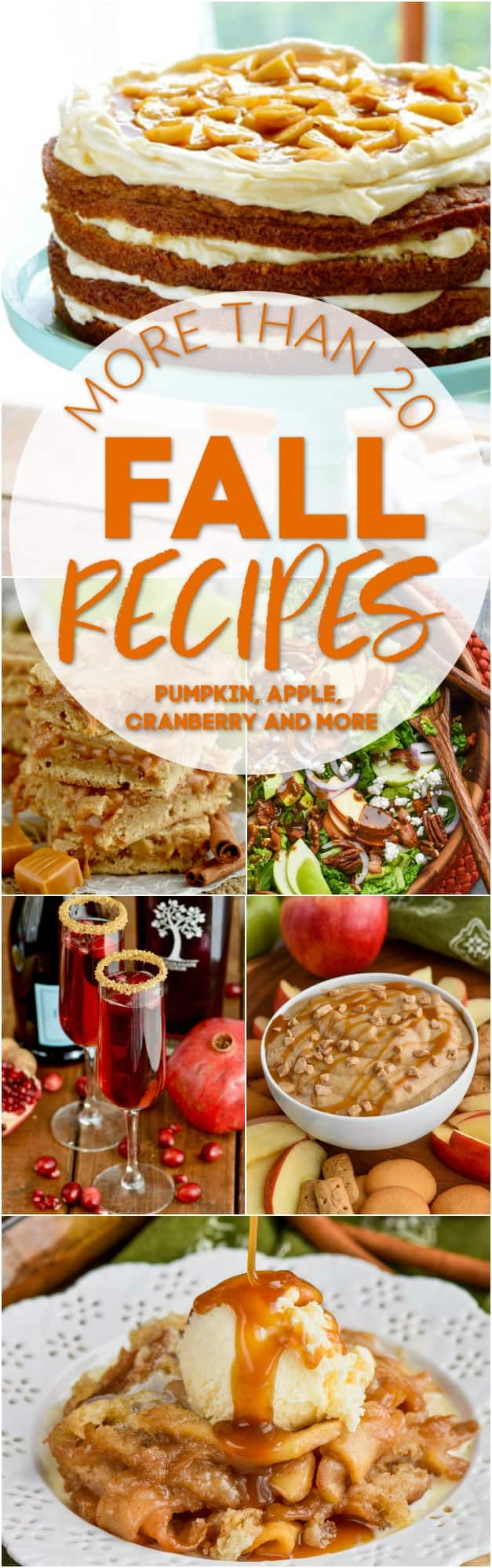 collage of fall recipes that ranges from dips, to drinks, to entrees, and even dessert.