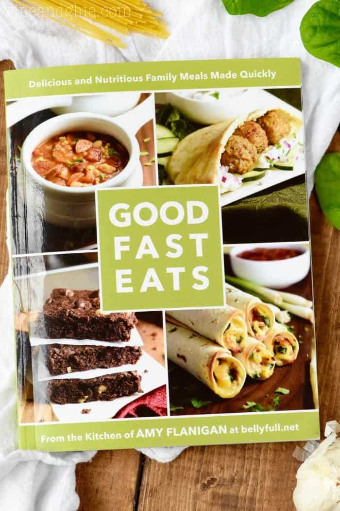 An overhead photo of the book Good Fast Eats by Amy Flanigan.