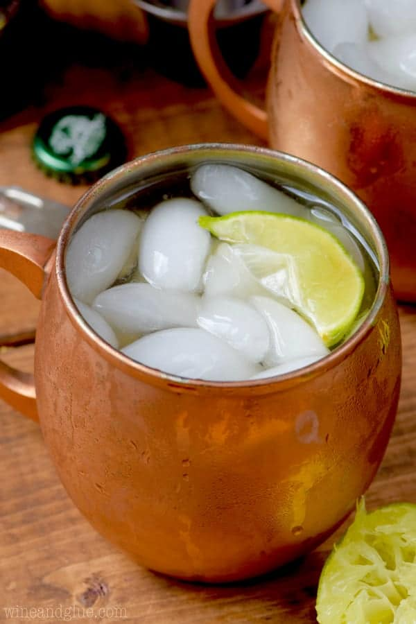 With a lime slice and ice cubes, the Margarita Moscow Mules are in a copper mug.