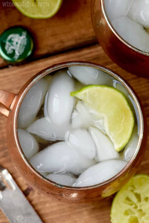 An overhead photo of the Margarita Moscow Mules have ice cubes and a lime slice.