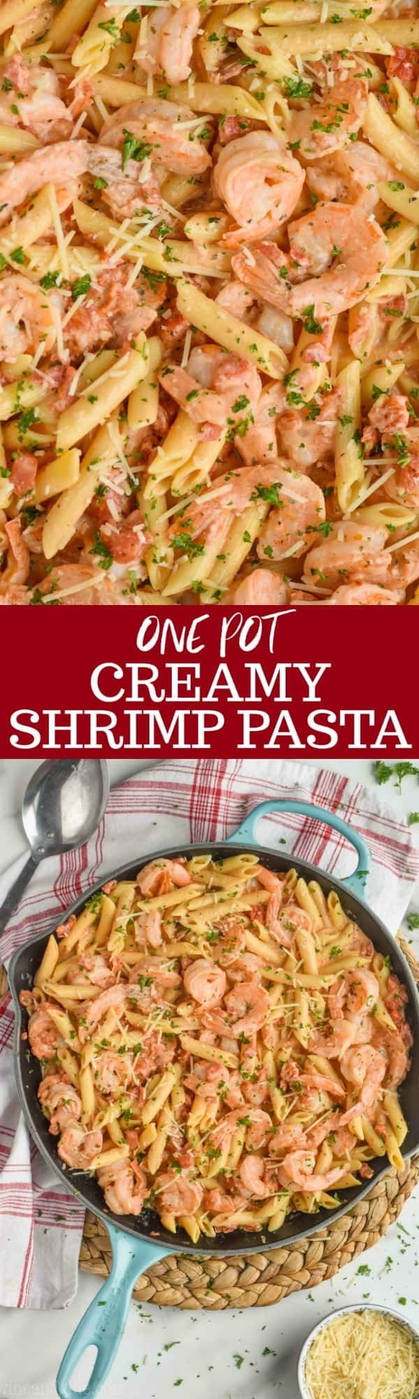 collage of one pot creamy shrimp pasta photos