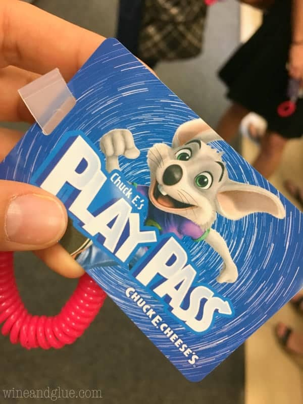 A photo of the Chuck E.'s Play Pass from Chuck E. Cheese's.