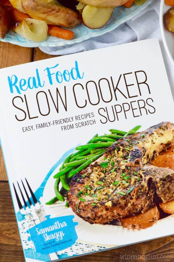 An overhead photo of the Real Food Slow Cooker Suppers by Samantha Skaggs.