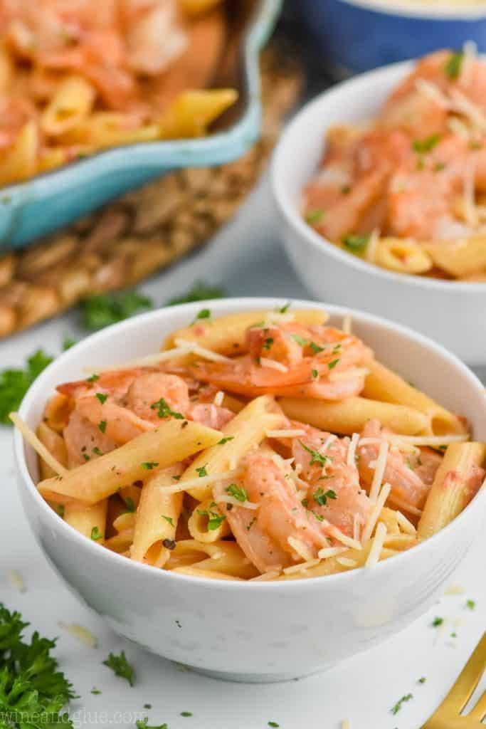 bowl full of creamy shrimp pasta