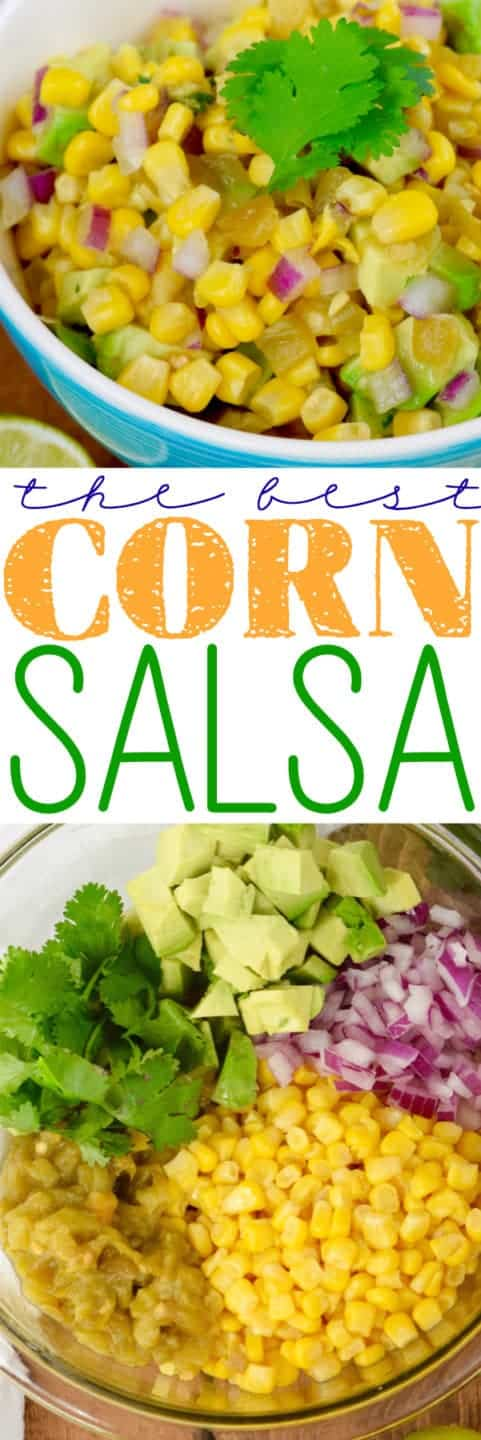 This is The BEST Corn Salsa! It is super easy to make and totally delicious! A win for any party or taco night!
