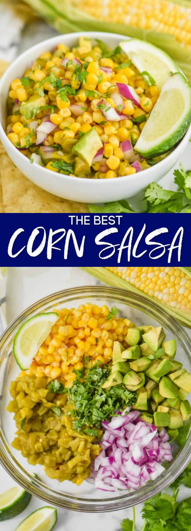 collage of photos of the best corn salsa recipe