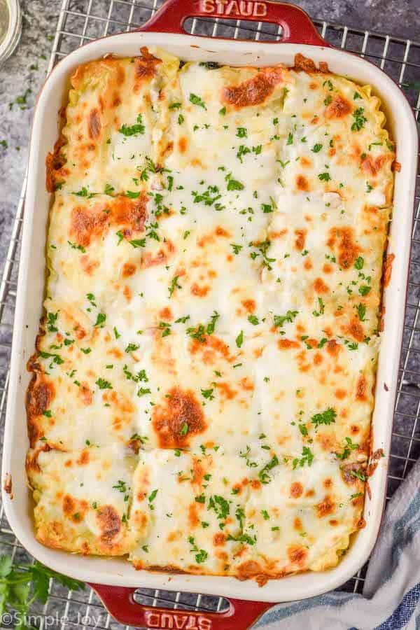 baking dish holding white lasagna
