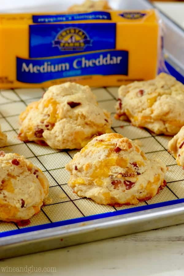 These Easy Bacon Cheddar Biscuits are so easy that you can perfectly throw them together right before serving your meal!