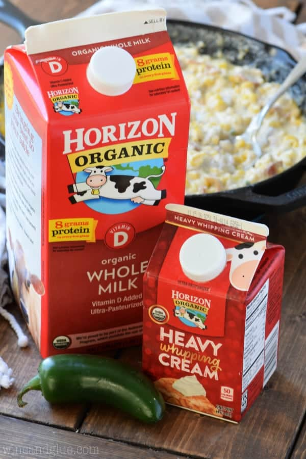 Horizon Organic Heavy Cream is in front of the Bacon Jalapeno Cream Corn.