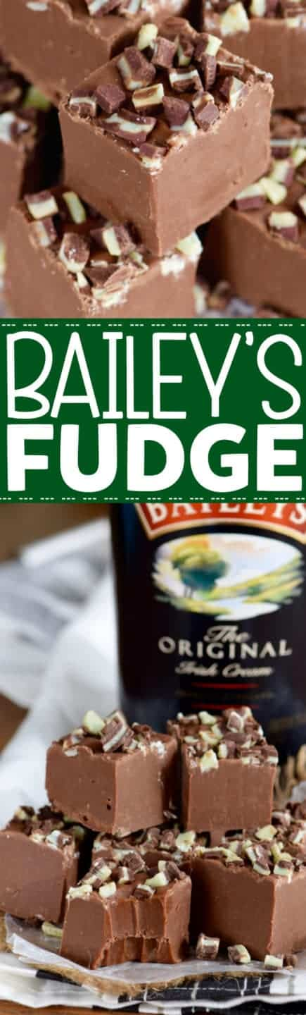 In little cubes, the Bailey's Fudge has chopped up Andes chocolate on top.