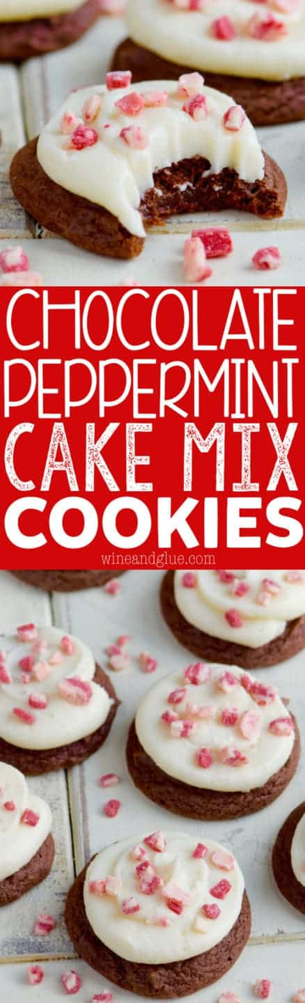 These Chocolate Peppermint Cake Mix Cookies are ridiculously simple to make, but so moist and chewy. A perfect holiday treat!