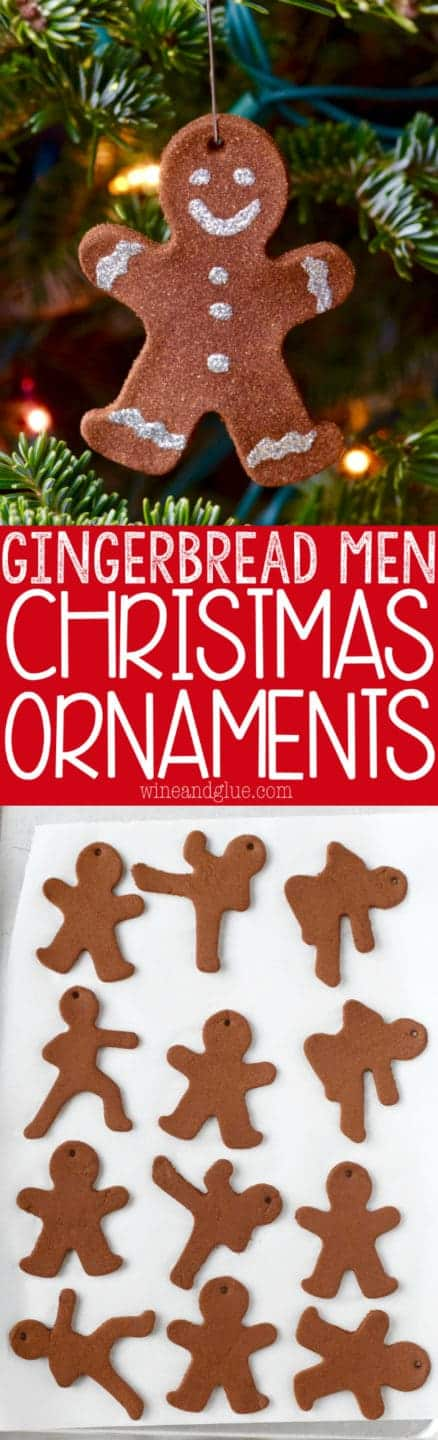 These Gingerbread Man Christmas Ornaments are such a fun easy holiday craft that smell just like gingerbread cookies! Perfect for a fun activity with the kiddos or gifting!