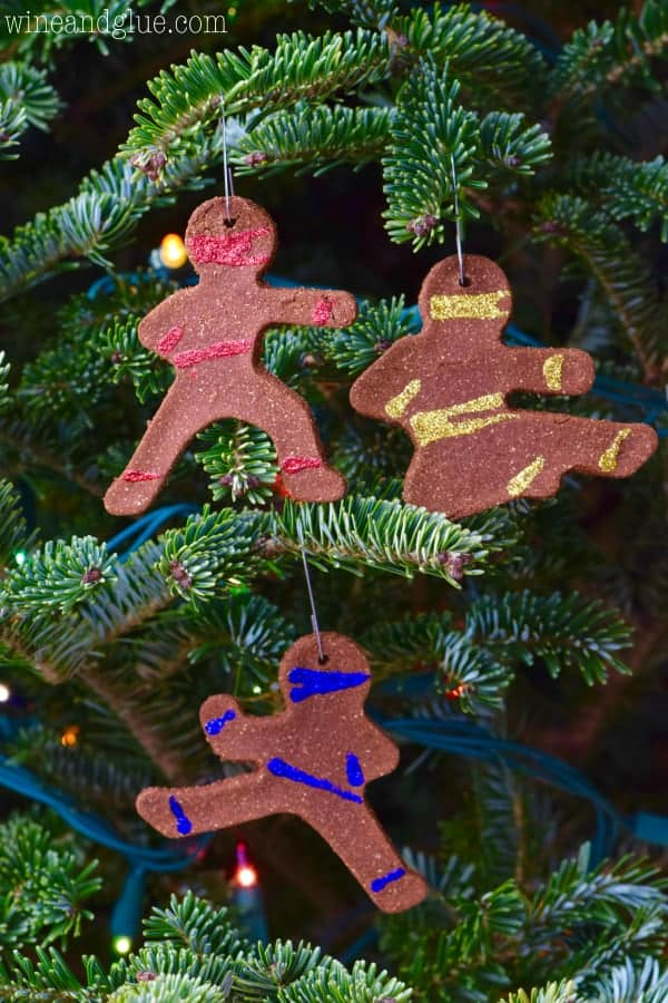 These Ninjabread Man Christmas Ornaments are such a fun easy holiday craft that smell just like gingerbread cookies! Perfect for a fun activity with the kiddos or gifting!