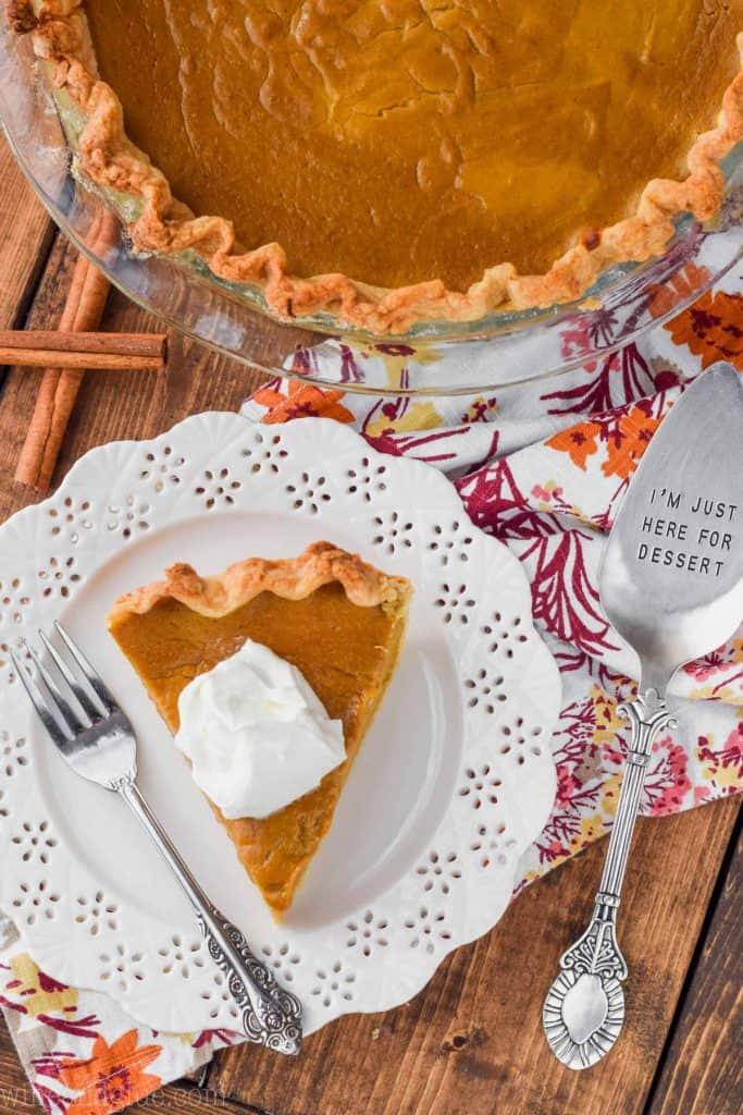 overhead view of a pumpkin pie recipe from scratch