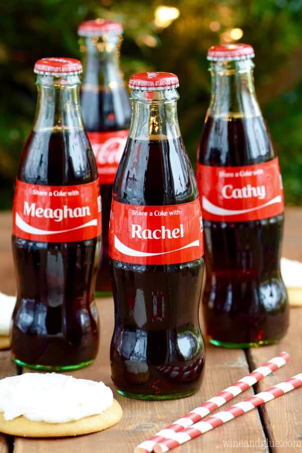 Glass Coca-Cola Bottles with the names Meaghan, Rachel, and Cathy on the label.