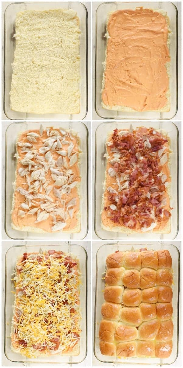 A collage of photos on how to make the Sriracha Back Sliders. (The Hawaiian bottom bun has sriracha mayo, then shredded chicken, bacon, shredded cheese, and the top bun)