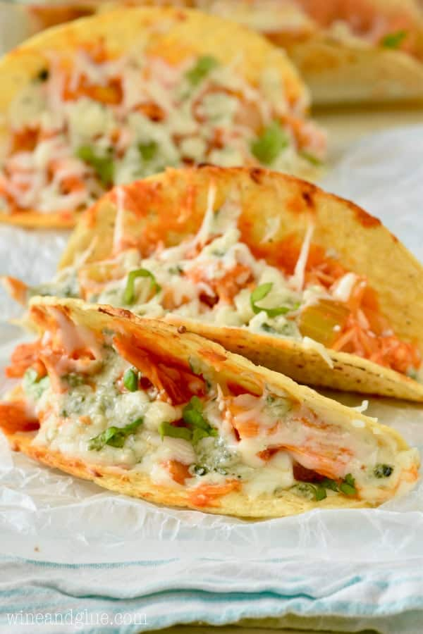 The Buffalo Baked Tacos are in hard taco shells filled with buffalo chicken and melted cheese.