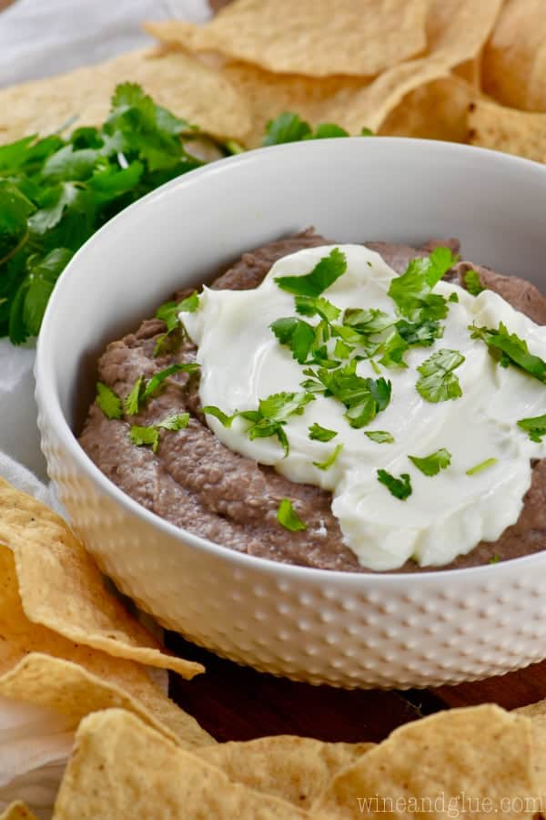 black bean dip recipe in a bowl with chips around and topped with sour cream and cilantro.