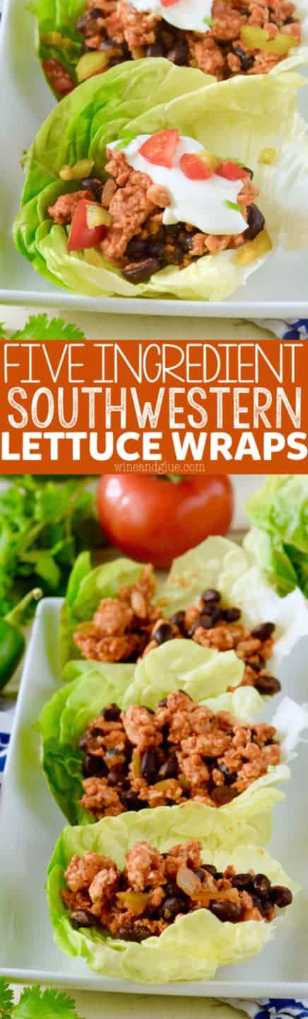 These Five Ingredient Southwestern Lettuce Wraps come together in a snap and are such a delicious light meal!