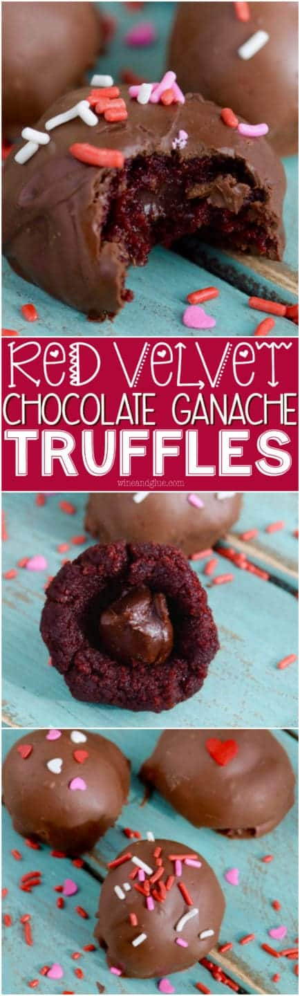 These Red Velvet Chocolate Ganache Truffles are red velvet cake balls with an amazing gooey chocolatey center!