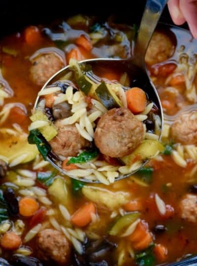 Slow Cooker Vegetable and Meatball Soup