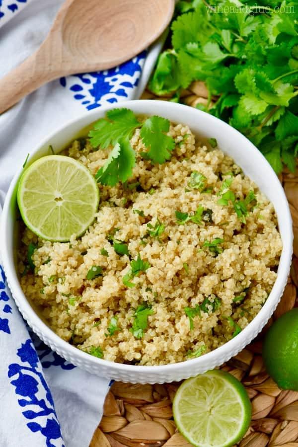 overhead view of cilantro lime quinoa recipe