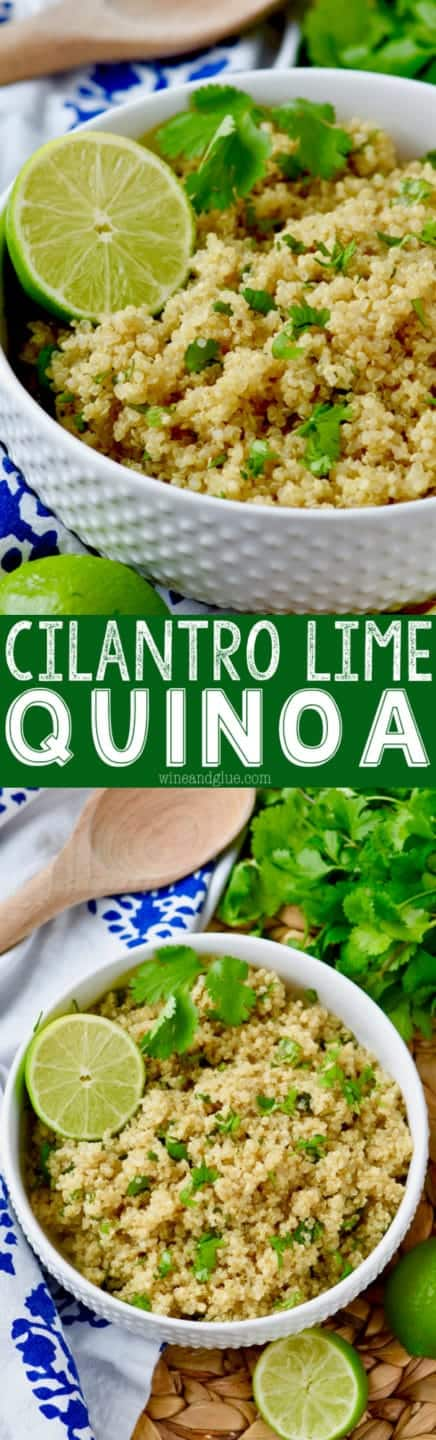 In a white bowl, the Cilantro Lime Quinoa is topped with cilantro and a slice of lime.