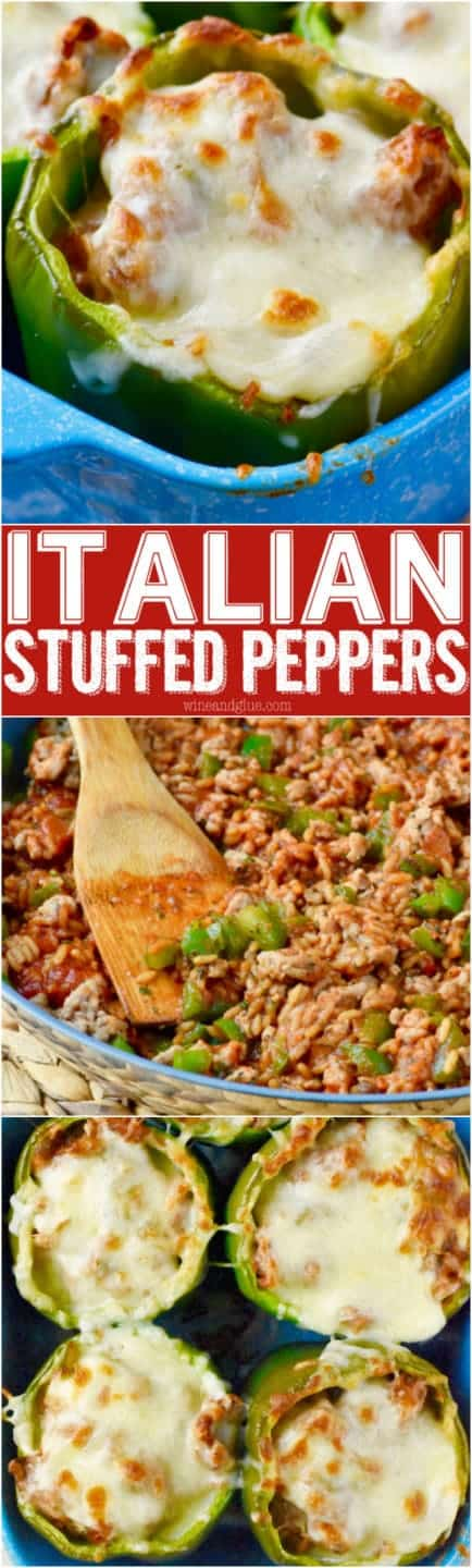 The Italian Stuffed Peppers is stuffed with some ground meats and peppers with melted cheese on top.