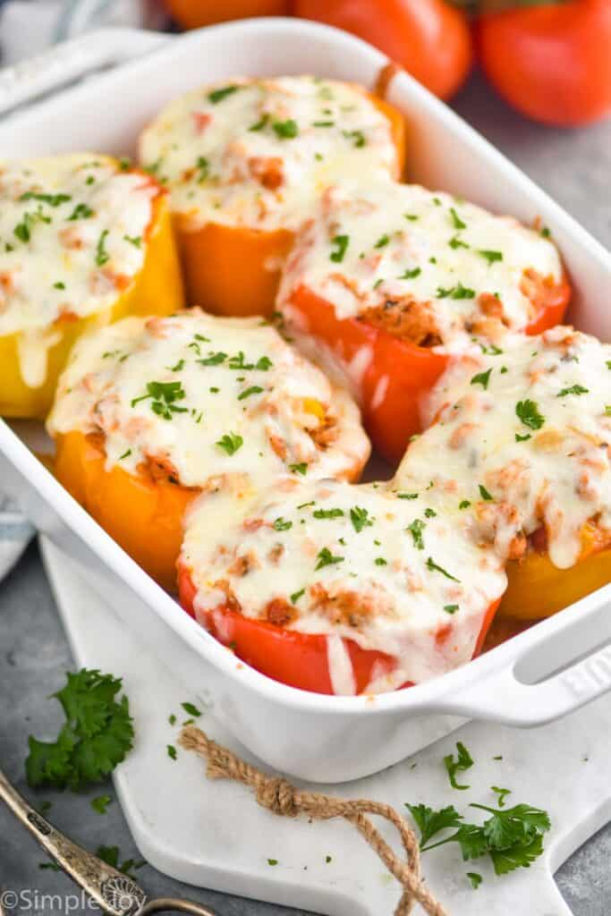 stuffed pepper recipe in a white casserole dish