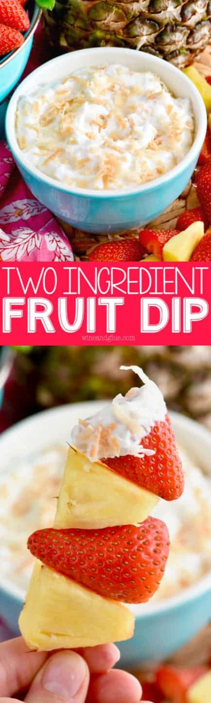 This Two Ingredient Fruit Dip is so easy to put together and full of delicious flavor! It's perfect for entertaining and psssssst, it's light too!
