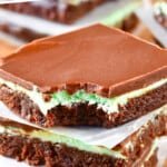 stack of mint chocolate brownies