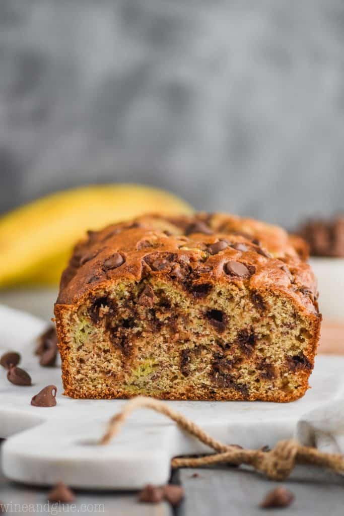 front view of the best chocolate chip banana bread recipe on a cutting board