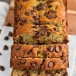 chocolate chip banana bread sliced on a cutting board