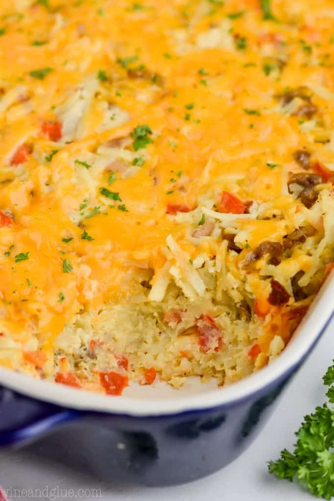 up close view of the side of an easy hash brown casserole recipe