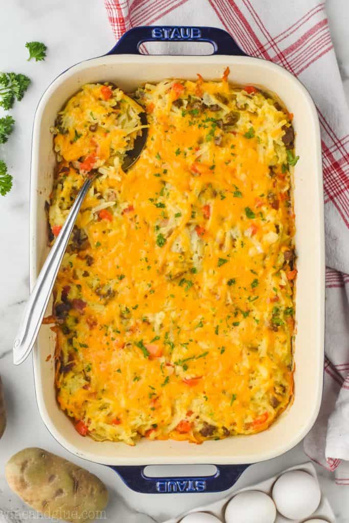 overhead view of hash brown egg casserole in a blue casserole dish