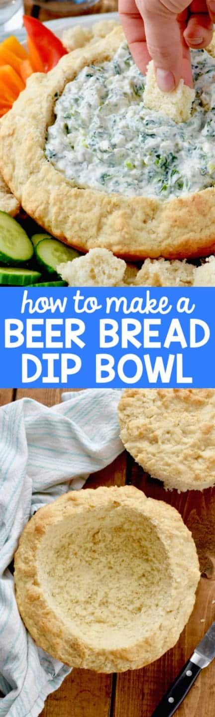 The Spinach dip is in the Beer Bread Dip Bowl and surrounded with vegetables.