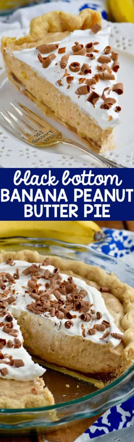 A slice of the Black Bottom Banana Peanut Butter Pie has three distinct fillings starting with the chocolate ganache at the bottom, the creamy Banana Peanut Butter middle, and whipped cream topping with shaved chocolate.