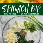 collage of photos of easy spinach dip