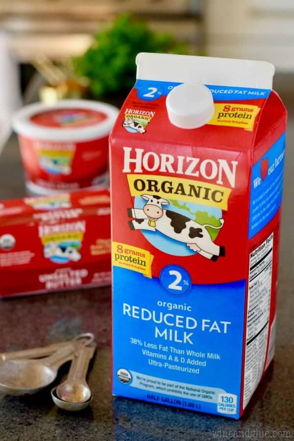 A large carton of Horizon's Organic Reduced Fat 2% milk