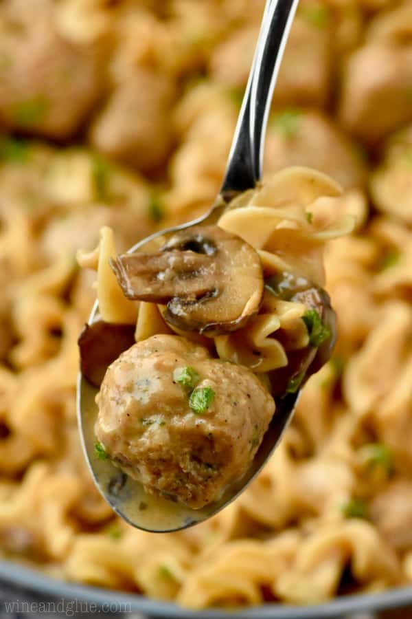 This One Pot Meatball Stroganoff is done in 35 minutes, all in one pan, and is a crowd pleaser!