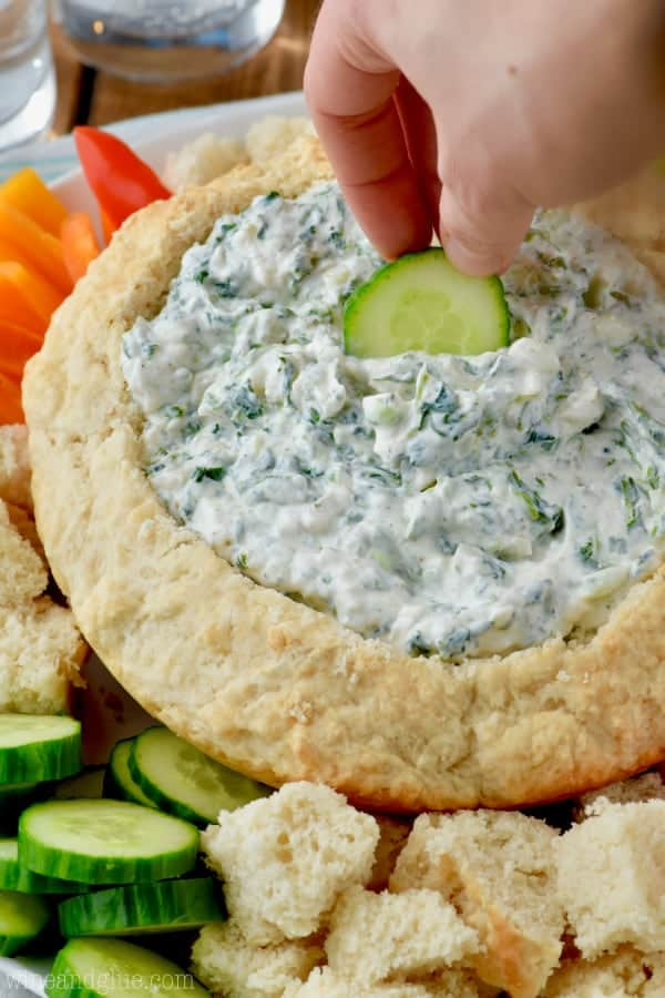 This Spinach Dip is super easy to make and is SO GOOD! Way better than the store bought packet!
