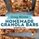pinterest graphic of granola bars