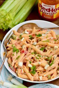 serving bowl of buffalo ranch pasta salad