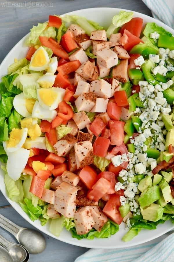 overhead view of cajun cobb salad recipe broken down by ingredients