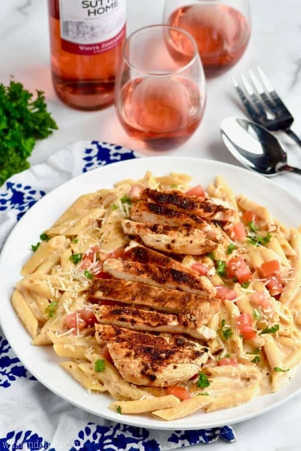 Plate of Creamy Cajun Chicken Pasta - an easy chicken recipe