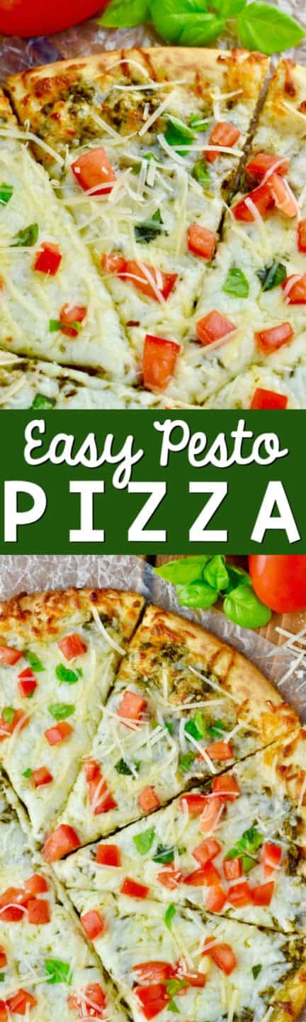 This Easy Pesto Pizza comes together in less than 15 minutes! A perfect busy weeknight meal or a fun party appetizer!
