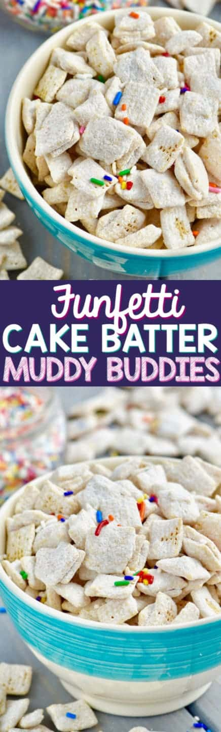 In a blue bowl, the Funfetti Cake Batter Muddy Buddies is powdered with some dry white cake batter and sprinkled with rainbow sprinkles.