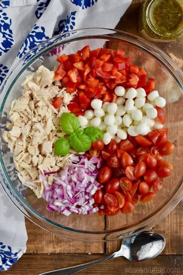 overhead view of ingredients for italian pesto easy chicken salad recipe